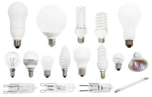 set of incandescent, compact fluorescent, halogen, LED light bulbs isolated on white background