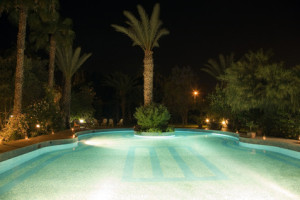 Swimming pool and Moroccan Garden at night