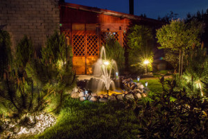 Fine evening, lit by the fountain in the garden