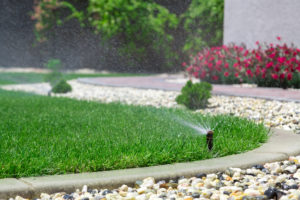 Sprinkler system head watering lawn with garden in the background | Pearson Sprinkler Co.